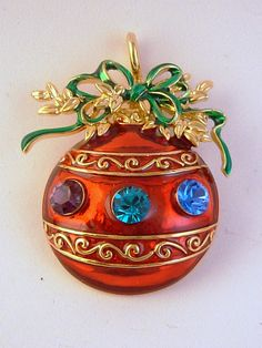 Red Christmas Ornament Pin/Pendant