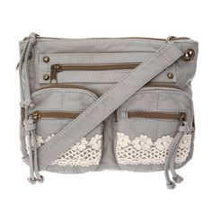 <P>Drape this smoke gray crossbody bag over your shoulder for super chic style. Faux leather with crochet accent. Features 3 front pockets.</P><UL><LI>Faux leather and crochet design <LI>Zip top closure <LI>Crossbody</LI></UL>