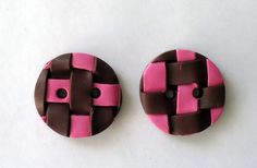 Unique buttons for sweaters, handmade buttons, handmade polymer clay buttons, pink and brown buttons