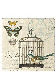 "Kathryn White Bird Botanical No. 2 35"" x 35"" Hand Embellished Canvas"