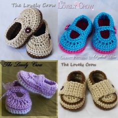 Baby Slippers 4 Pattern Package 4 Booties Crochet by ebethalan