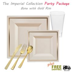 Posh Party Supplies - Imperial GRAND Party Package - Square Ivory with Gold Rim Dinner Settings  sc 1 st  Pinterest & 6.5