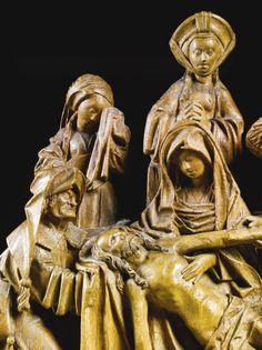 Lot | Sotheby. FLANDRE, ANVERS, VERS 1510 RELIEF AVEC LA LAMENTATION avec les marques gravées des marchands de bois sur l'arrière de chêne, sur une base de bois recouvert de velours gris relief:. 57,5 par 61.2cm