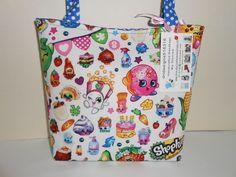 Kids Girls Shopkins White Cotton Fabric Handmade Handbag Purse Tote New #Handmade