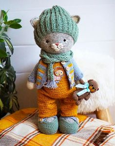 Ravelry: Tom outfit for Bunny or Kitten pattern by Maria Ermolova Crochet Supplies, Cat Lover Gifts, Cat Lovers, Crochet Animals, Crochet Toys, Animals For Kids, Diy Toys, Handmade Toys, Silk Ribbon