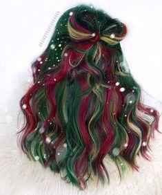 Bold Hair Color, Pretty Hair Color, Hair Dye Colors, Pulp Riot Hair Color, Peek A Boo, Christmas Hair, Merry Christmas, Xmas, Holiday Hairstyles