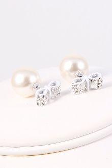 Rhinestone Ribbon Pearl Double-Side Earring