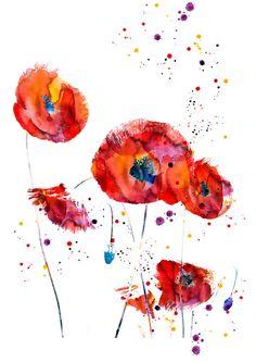 abstrakt Mohn Blume Aquarell Kunstdruck Poster von WatercolorMary