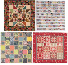Clockwise from top left: fat-quarter-friendly quilts from Kim Diehl, Dana Bolyard, Gerri Robinson, and Julie Herman.