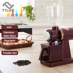 TTLIFE Household Coffee Grinder Adjustable Thickness Coffee Mills Electric Grinder Pure Copper Semi-automatic Coffee Tools