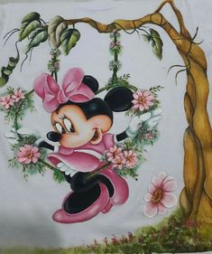 Baby Painting, Fabric Painting, Cartoon Drawings, Cool Drawings, Mickey Mouse Wallpaper, Disney Cards, Mickey And Friends, Mickey Minnie Mouse, Minne
