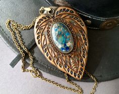 Fantasy labradorite pendant  Hand tooled leather pendant with