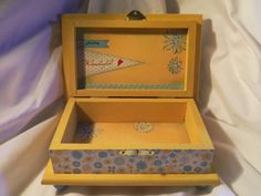For my daughter's teacher. #woodbox #giftideas #jewerlybox #handcrafted #birthday #safekeepingbox #memorybox #mixedmedia #artwork #woodcrafts #colors #senitmentalgifts. EnchantedGiftss /Etsy.com