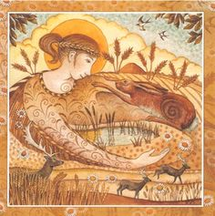 """Wendy Andrew """"Goddess Festival at Lammas."""" Lammas - 1st August Grain Mother Ker spreads her Golden cloak across the land. She brings the bountiful abundance of the harvest. A time of gratitude for all that we have."""