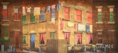 Rent this Tenement Building Street backdrop for your stage plays, recitals and musicals. City Backdrop, Scenic Design, Backdrops, Building, Painting, Stage Design, Buildings, Painting Art, Paintings