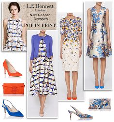L K Bennett floral print flared midi dress shift cocktail dresses Ascot wedding guest Mother of the Bride occasion outfits and bridal shoes