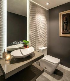 Half Bathroom design Want to refresh your small bathroom decor? Here are Cute and Best Half Bathroom Ideas That Will Impress Your Guests And Upgrade Your House. Modern Bathroom Design, Bath Design, Bathroom Interior Design, Bathroom Designs, Interior Decorating, Decorating Ideas, Shower Designs, Tile Design, Gray Bathroom Walls