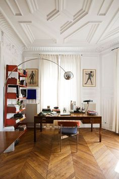 The home office of design duo Cristophe Comoy and Luis Laplace is an exercise in symmetry and color coordination. An Achille Castiglioni Arco Lamp beautifully punctuates the space. Photo via Laplace Home Office Space, Home Office Design, House Design, Office Desk, Desk Space, Office Designs, Home Office Inspiration, Interior Inspiration, Home Interior