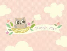 Sweet Owl Baby Thank You Cards by Ellinée