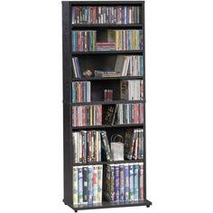 $27.88. Mainstays Multimedia Storage Tower. 5 adjustable shelves, 1 fixed shelf; Holds 287 CDs, 128 DVDs, or 56 VHS tapes; Black laminate finish