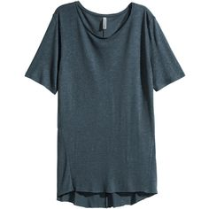 H&M Long T-shirt (€18) ❤ liked on Polyvore featuring tops, t-shirts, dark blue, h&m tops, long t shirts, blue top, h&m t-shirts and long tee