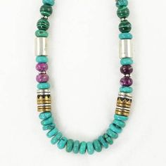 "Southwestern Blue Turquoise Gemstone Bead, Sterling Silver and Gold 30"" Necklace by Native American Artist Tommy Singer, #7682 Taos Trading Necklaces, http://www.amazon.com/dp/B006GT8H68/ref=cm_sw_r_pi_dp_SQVerb0YDRR6V"