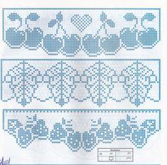 Luci Artes: Riscos Para Pintura em Panos de Copa e Gráficos de Barrados em Crochê Filet Crochet Charts, Crochet Motifs, Crochet Borders, Crochet Diagram, Thread Crochet, Knit Or Crochet, Crochet Curtains, Tapestry Crochet, Crochet Hearts