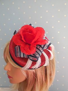 Vintage style red, white and blue button #hat/pill box with #flower and #feathers,  View more on the LINK: 	http://www.zeppy.io/product/gb/2/141786261740/