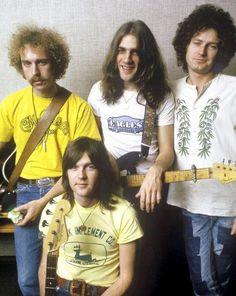 The original Eagles, Left to right Bernie Leadon,  Randy Meisner (bottom), Glenn frey and Don Henley.