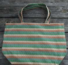 Shopping Tote Large-Eco Friendly-Grocery Bag-Diaper Bag-Beach Bag-Carry On-Library Tote-Craft Bag-Market Bag-Reusable-Washable-Fall Striped by sewlittletime2009 on Etsy