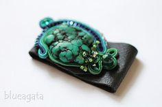 blueagata: Soutache bracelet with natural turquoise nugget