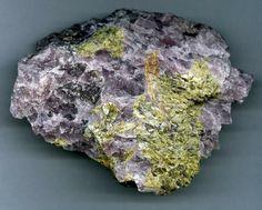 green-yellow Sphalerite in viola Ussingite - Kola Peninsula, Russland
