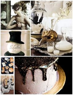 Spooky chic Halloween. gold & black party decor from one charming life.