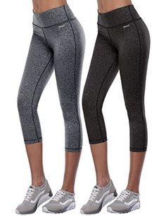 Aenlley Women's Activewear Yoga Pants High Rise Slim Fit Tights Cropped Capris Color BlackGrey+DarkGrey Size M - http://www.exercisejoy.com/aenlley-womens-activewear-yoga-pants-high-rise-slim-fit-tights-cropped-capris-color-blackgreydarkgrey-size-m/athletic-clothing/
