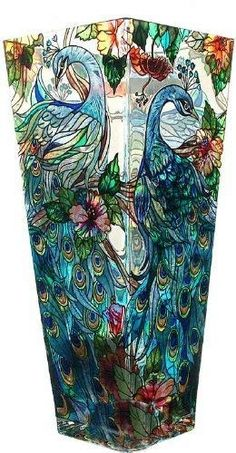 Amia Tall Hand-Painted Glass Vase Featuring a Peacock Design - Enjoy this beautiful tall hand-painted glass vase by Amia Studios. This colorful vase is functional as well as decorative. Comes gift boxed, makes for a perfect gift for someone special. Peacock Decor, Peacock Art, Peacock Design, Peacock Feathers, Peacock Colors, Glass Ceramic, Mosaic Glass, Painted Glass Vases, Glass Paint