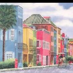 Charleston, SC in South Carolina, This is called Rainbow Row. A nice city to visit lots of southern charm. Rainbow Row Charleston, Downtown Charleston Sc, Charleston South Carolina, Charleston Homes, Oh The Places You'll Go, Places To Travel, Places Ive Been, Places To Visit, Porte Cochere