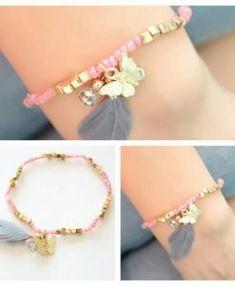 Bracelet plume gris papillon