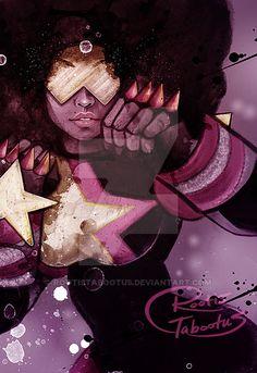 Great fan art of Garnet from Steven Universe by RootisTabootus on DeviantArt Arte Black, Black Art, Geeks, Garnet Steven, Steven Universe Garnet, Gravity Falls, Universe Art, Afro Art, Cartoon Network