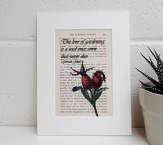 Antique Gardening Book Quote and Botanical Image Print, Gertrude Jekyll Book Print, Vintage Rose Hip Image Dictionary Print, Gardeners Gift by TicketyBooPrints on Etsy