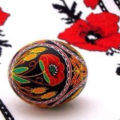 Ukrainian Pysanka with poppy embroidery