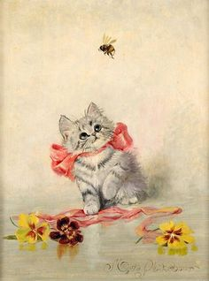 ≗ The Bee's Reverie ≗  Vintage postcard, kitty and bee