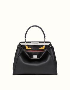 FENDI | REGULAR PEEKABOO handbag in leather and python with Bag Bugs pattern