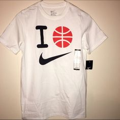 "Nwt boys large Nike shirt Brand new large 14/16 NIKE BASKETBALL T SHIRT WHITE SAYS - ""I Emoji of a basketball  NIKE"" can fit a women's small Nike Tops Tees - Short Sleeve"