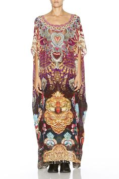 Camilla - Milagro Charm / Round Neck Kaftan $599.00 | A camilla best seller, Round neck Kaftan can be worn in mulitple ways, silk, crystals, colour, this is a winner winter piece, wear with boots, leggings, jacket.