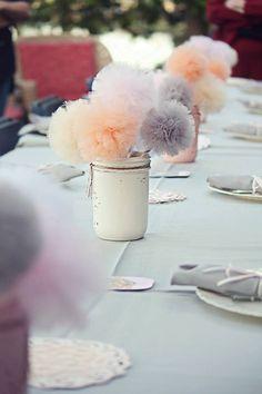 Mason Jar Tulle Pom Pom Centerpiece, Wedding Decoration