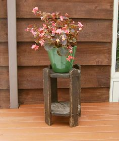 Old Plant Stand Primitive Wooden Vintage Worn Small Table Rustic Wood