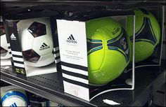 Differentiating seemingly identical league-spec, round soccer balls in-store presents a challenge addressed here by Adidas Redesigns Soccer Sales on Shelf. Soccer Store, Store Fixtures, Sale On, Soccer Ball, Boxing, Balls, Shelf, Retail, Packing
