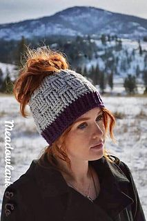 3f8e7b60d21 Basket Weave Ponytail or Messy Bun Hat pattern by Crochet by Jennifer