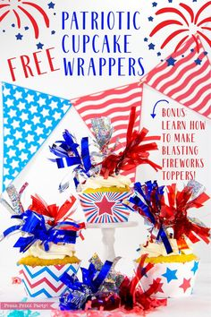 10a1ec2e34b0 Click for FREE printable 4th of July Cupcake Wrappers by Press Print Party!  Instant download