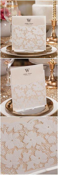 elegant lace pocket laser cut wedding invitations